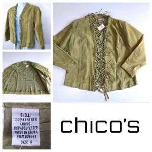 CHICO'S DESIGN Green Leather Jacket Size 3 ($198)